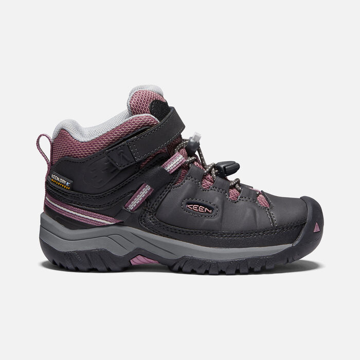 Younger Kids' Targhee Waterproof Hiking Boots in RAVEN/TULIPWOOD - large view.