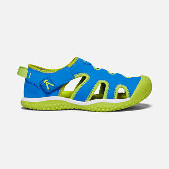 Older Kids' Stingray Sandals in Brilliant Blue/Chartreuse - large view.