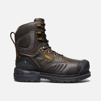 "Men's CSA Philadelphia+ 8"" Internal MET Waterproof Boot (Carbon-Fiber Toe) in CASCADE BROWN/BLACK - large view."