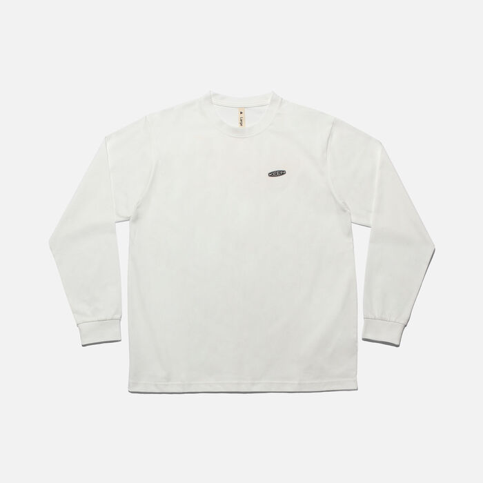 KEEN C&B ロゴ L/S Tシャツ in White/Yellow - large view.