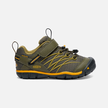 Younger Kids' Chandler Cnx Waterproof Trainers in Dark Olive/Citrus - large view.