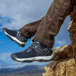 MEN'S VENTURE WATERPROOF MID HIKING BOOTS in  - on-body view.
