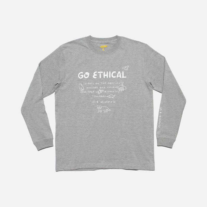 US 4 IRIOMOTE チャリティ L/S Tシャツ『GO ETHICAL』 in Grey - large view.
