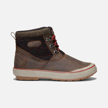 Elsa II Waterproof WOOL Ankle Boots für Damen in CASCADE BROWN/FIRED BRICK - large view.
