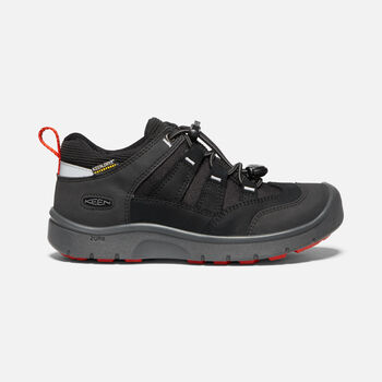 Older Kids' Hikeport Waterproof Hiking Trainers in BLACK/BRIGHT RED - large view.
