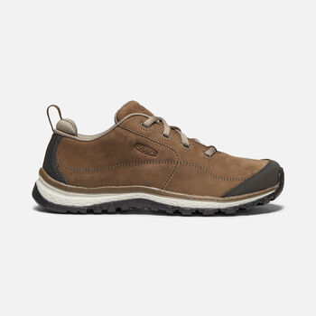 Women's Terradora Leather Trainer Shoes in DARK EARTH/SILVER BIRCH - large view.