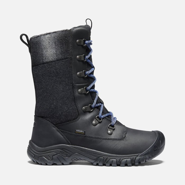 Women's Greta Tall Waterproof Boots in Black/Black - large view.