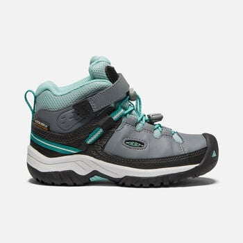 Younger Kids' Targhee Waterproof Hiking Boots in STEEL GREY/WASABI - large view.