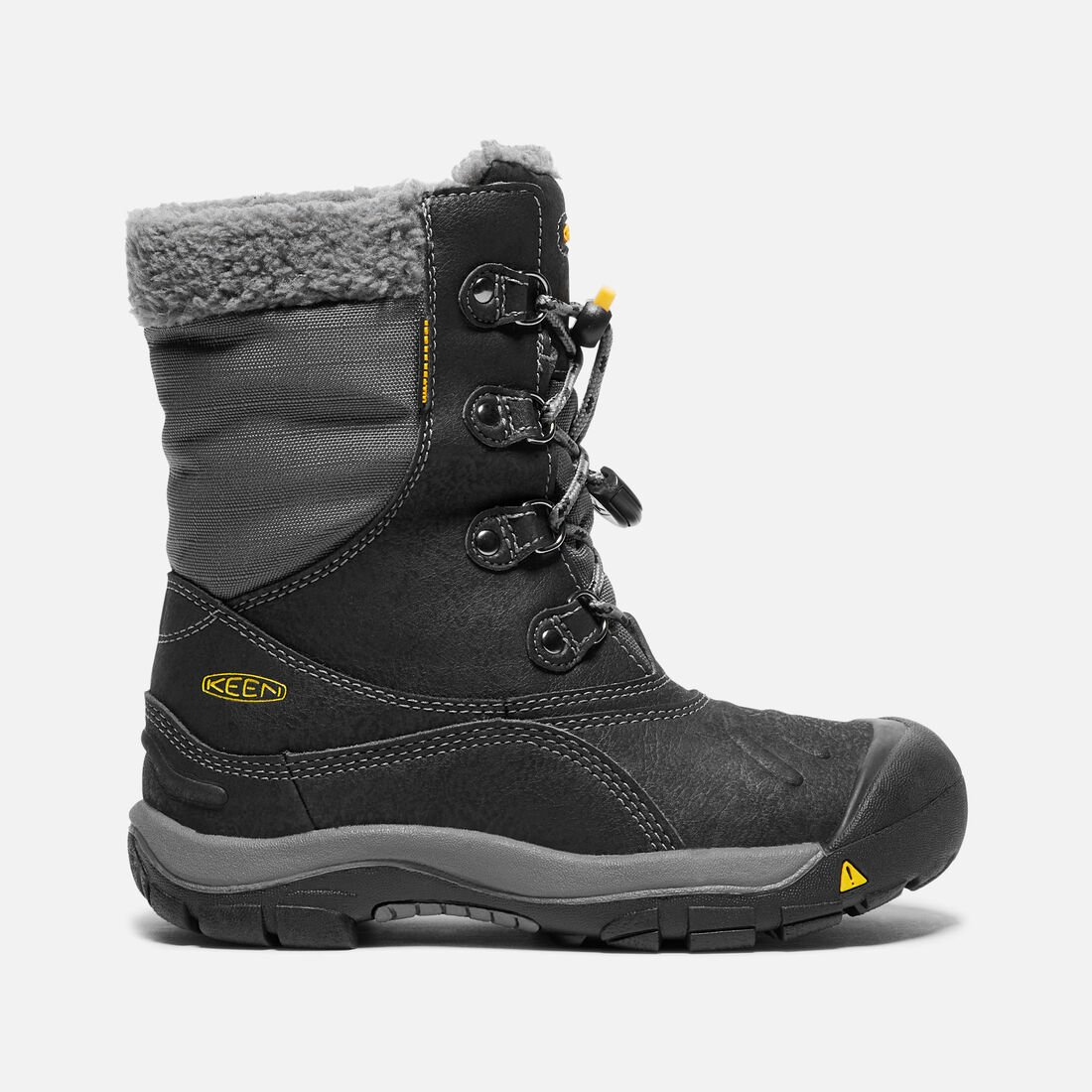 YOUNGER KIDS' BASIN WATERPROOF WINTER BOOTS in Black/Gargoyle - large view.