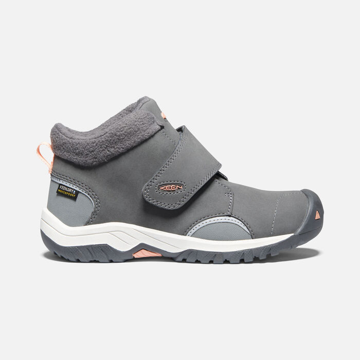 Big Kids' Kootenay III Waterproof Boot in Steel Grey/Dusty Pink - large view.