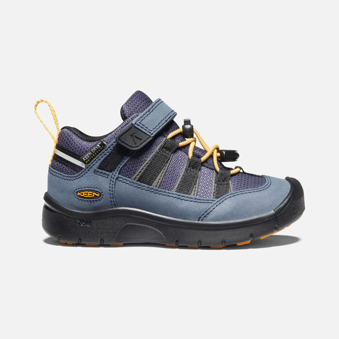 Older Kids' Hikeport II Waterproof Hiking Trainers in Blue Nights/Sunflower - large view.