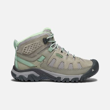 Women's Targhee Vent Mid Hiking Boots in FUMO/QUIET GREEN - large view.