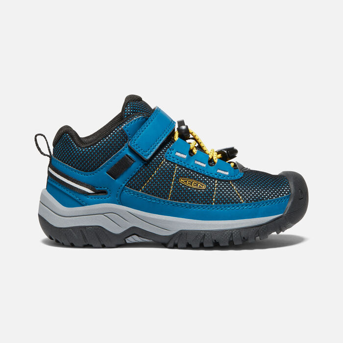 Little Kids' Targhee Sport Vent Shoe in Mykonos Blue/KEEN Yellow - large view.
