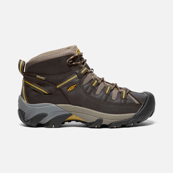 MEN'S TARGHEE II WATERPROOF WIDE FIT MID HIKING BOOTS in Black Olive/Yellow - large view.