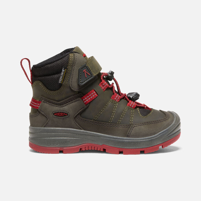 Younger Kids' Redwood Mid Waterproof Boots in Steel Grey/Red Dahlia - large view.