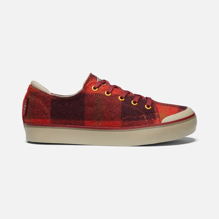 ELSA III PLAID SNEAKER POUR FEMME in RED PLAID/PLAZA TAUPE - large view.