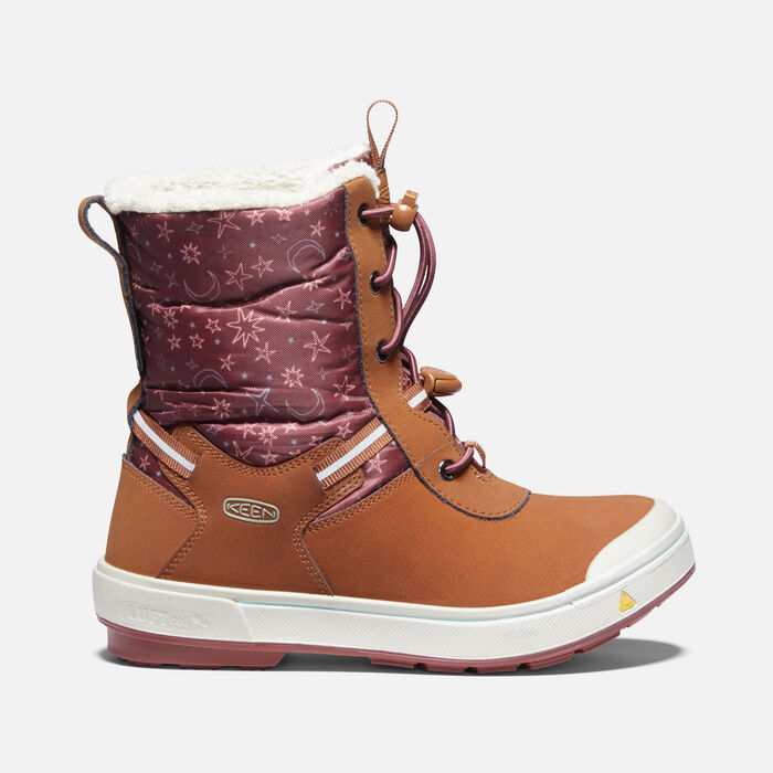 Younger Kids' Kelsa Tall Waterproof Winter Boots in Caramel Cafe/Harbor Gray - large view.