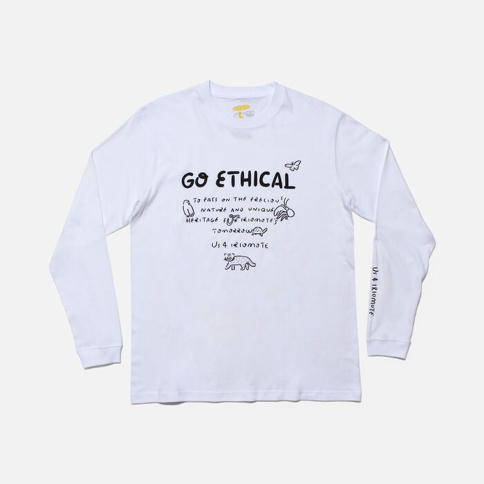 US 4 IRIOMOTE チャリティ L/S Tシャツ『GO ETHICAL』 in White - large view.