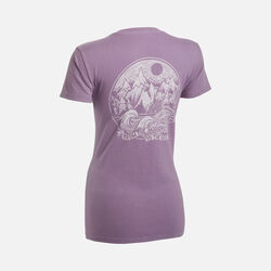 Women's 'Mountains to Sea' T-Shirt in Eggplant - small view.