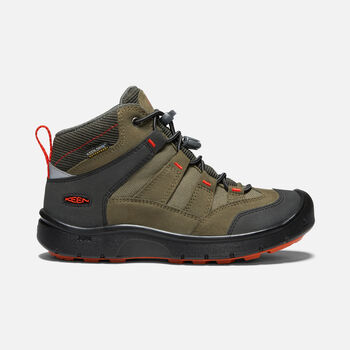Hikeport Mid Waterproof Wanderstiefel für Jugendliche in MARTINI OLIVE/PUREED PUMPKIN - large view.