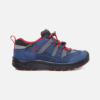 OLDER KIDS' HIKEPORT WATERPROOF HIKING TRAINERS in Dress Blues/Fiery Red - large view.