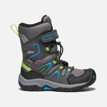 Younger Kids' LEVO Waterproof Winter Boots in MAGNET/BLUE JEWEL - large view.