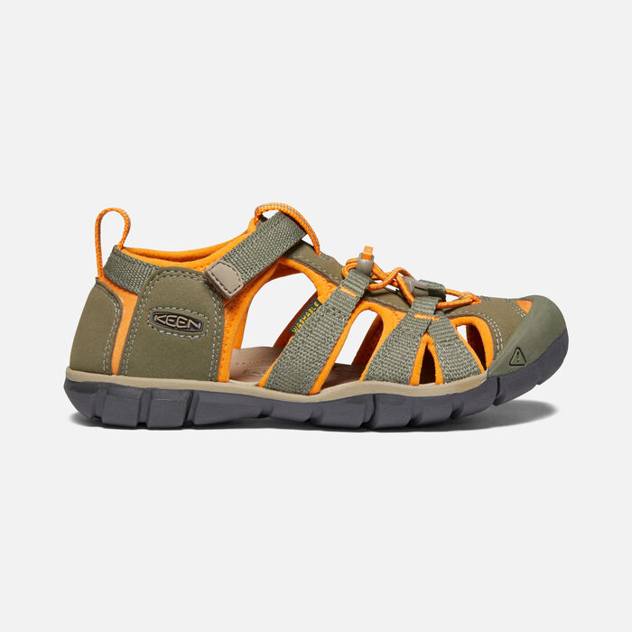 Older Kids' Seacamp II Cnx Sandals in Dusty Olive/Russet Orange - large view.