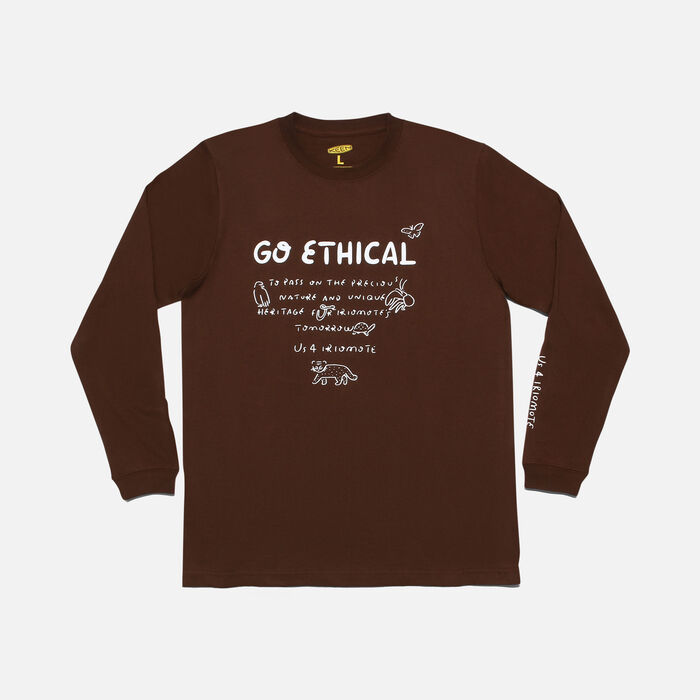 US 4 IRIOMOTE チャリティ L/S Tシャツ『GO ETHICAL』 in Dark Brown - large view.
