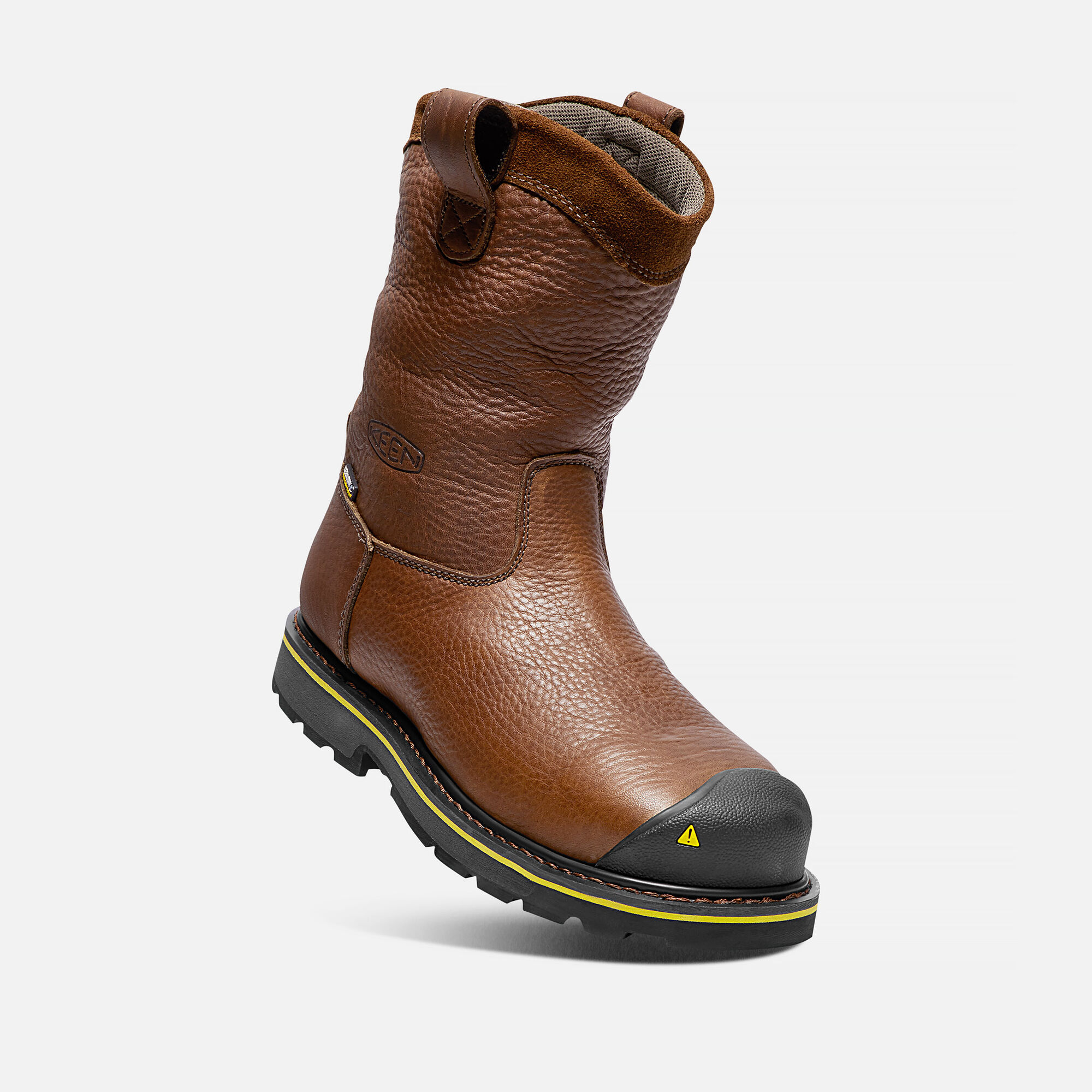 Mens Dallas Wellington Work Boots Steel Toe Farm Ranch D Island Shoes Slip On Driving Comfort Leather Black In Dark Brown Small View