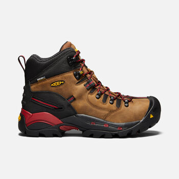 Men's CSA Hamilton Waterproof Boot (Carbon Fiber Toe) in BISON/JESTER RED - large view.