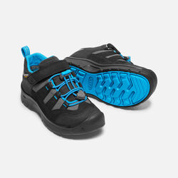 YOUNGER KIDS' HIKEPORT WATERPROOF HIKING TRAINERS in Black/Blue Jewel - small view.