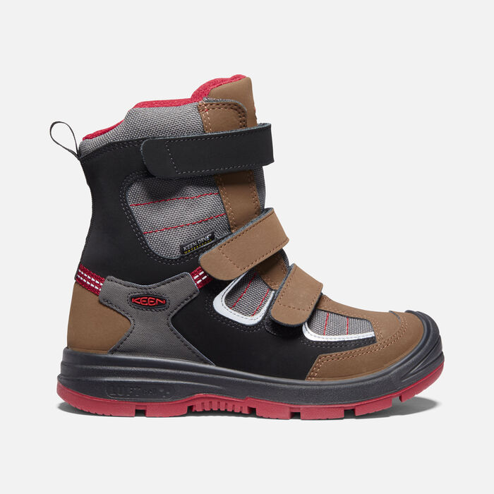 Younger Kids' Redwood Winter Waterproof Boots in Bison/Red Dahlia - large view.