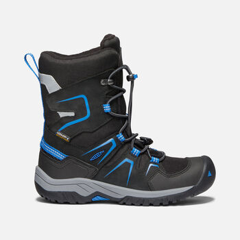 Older Kids' Levo Waterproof Winter Boots in BLACK/BALEINE BLUE - large view.