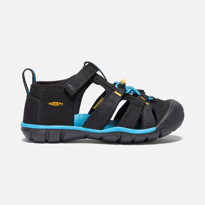 Younger Kids' Seacamp II Cnx Sandals in Black/KEEN Yellow - large view.