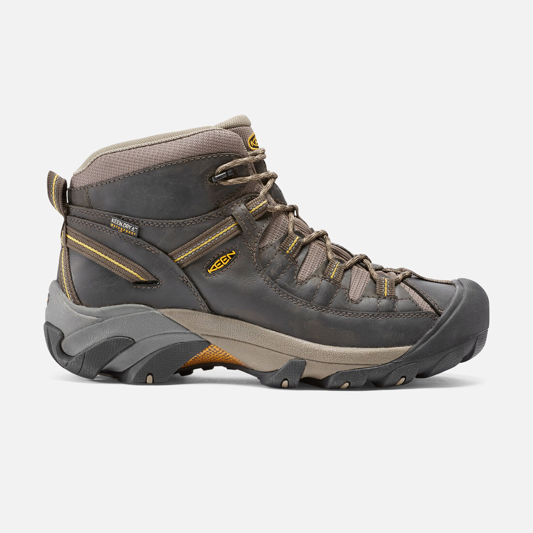 MEN'S TARGHEE II WATERPROOF  MID HIKING BOOTS in Black Olive/Yellow - large view.