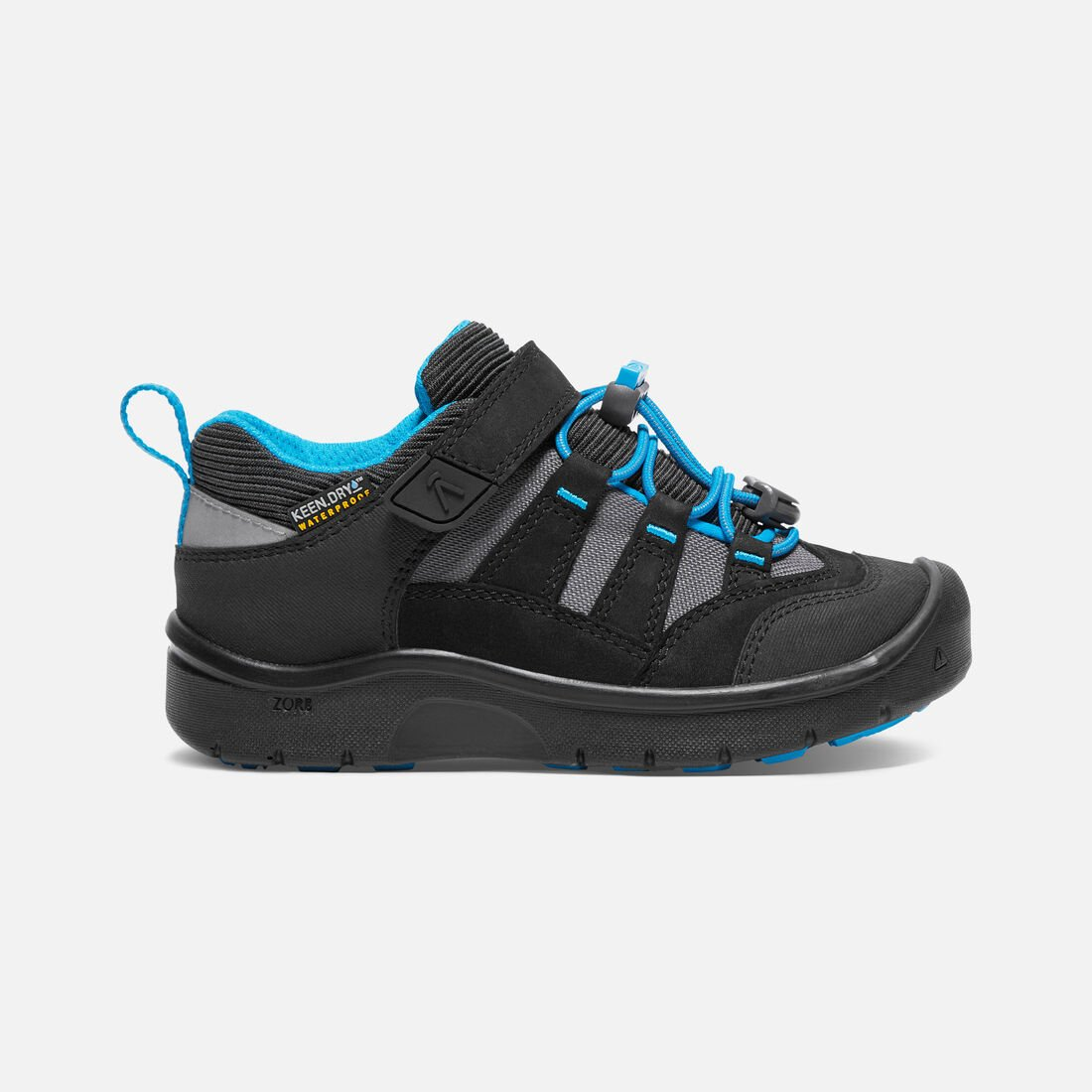 YOUNGER KIDS' HIKEPORT WATERPROOF HIKING TRAINERS in Black/Blue Jewel - large view.