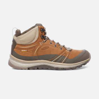 Women's Terradora Leather Waterproof Mid Hiking Boots in Timber/Cornstalk - large view.