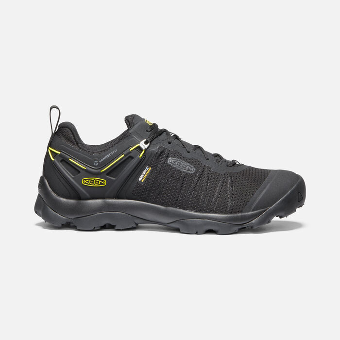 Men's Venture Waterproof Hiking Shoes in Black/KEEN Yellow - large view.