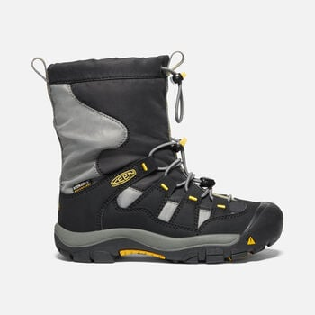 Older Kids' Winterport Waterproof Boots in BLACK/GARGOYLE - large view.
