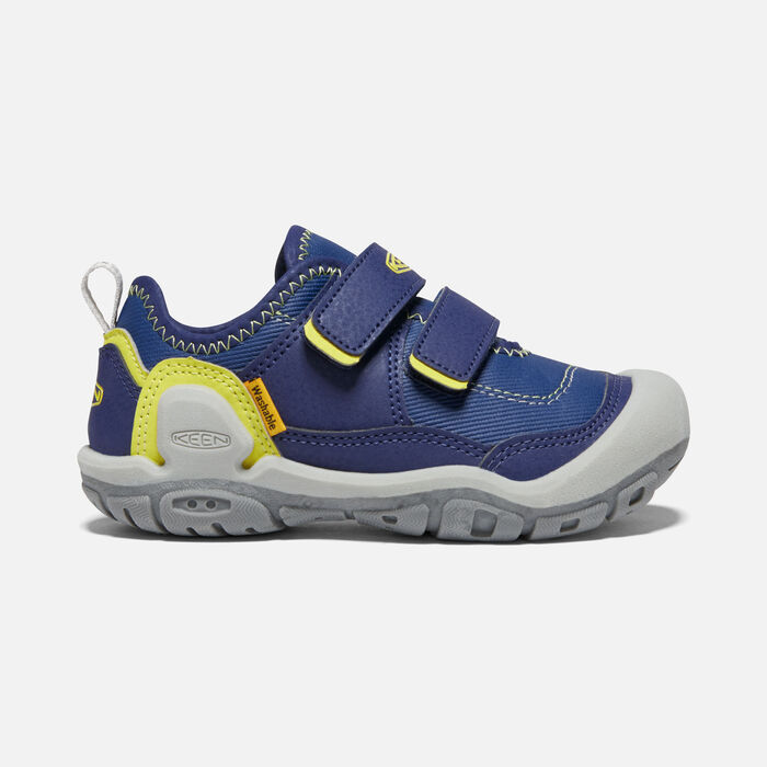 Big Kids' Knotch Hollow Double Strap Sneaker in Blue Depths/Evening Primrose - large view.