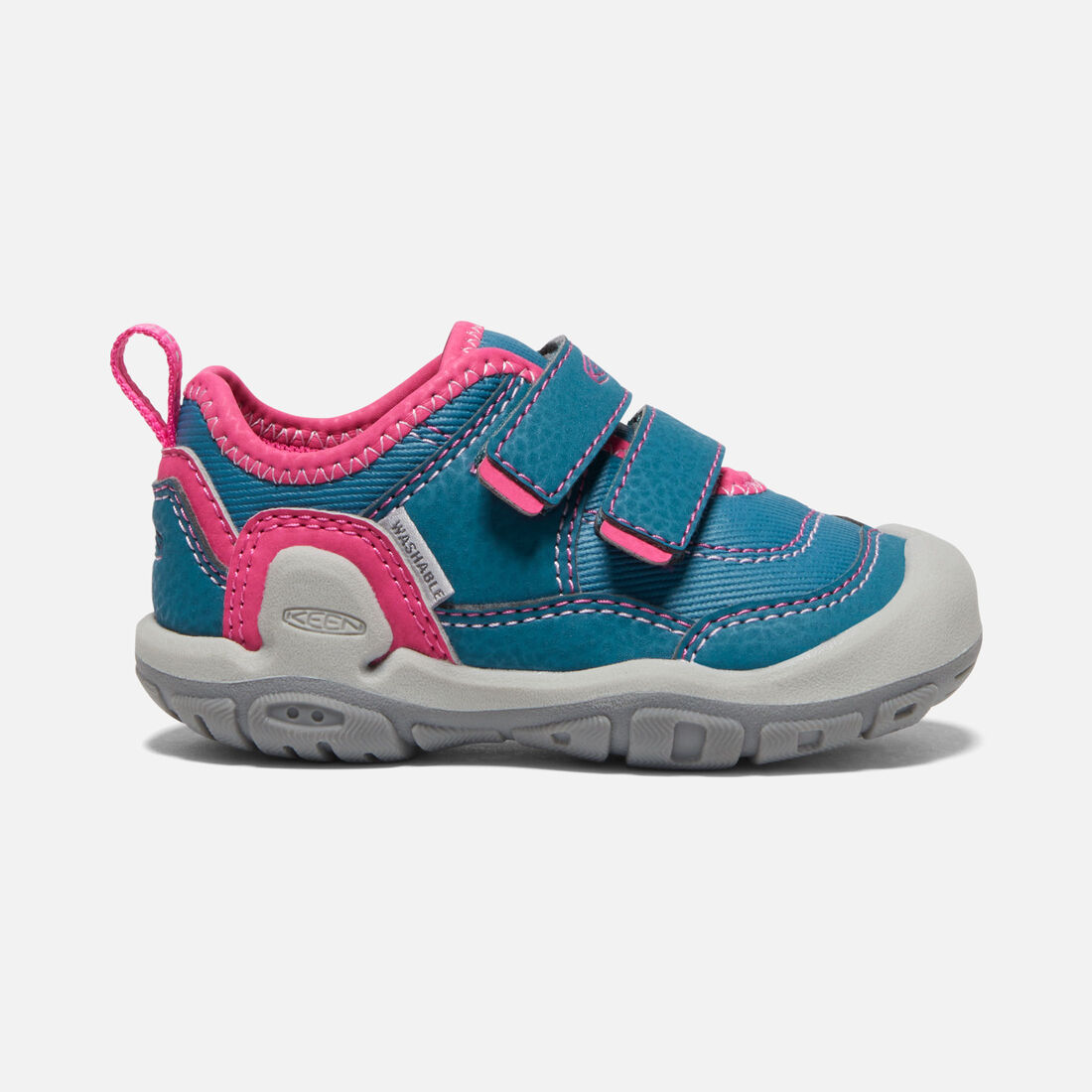 Toddlers' Knotch Hollow Double Strap Sneaker in Blue Coral/Pink Peacock - large view.