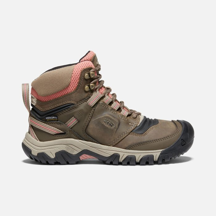 Women's Ridge Flex Waterproof Hiking Boots in Timberwolf/Brick Dust - large view.