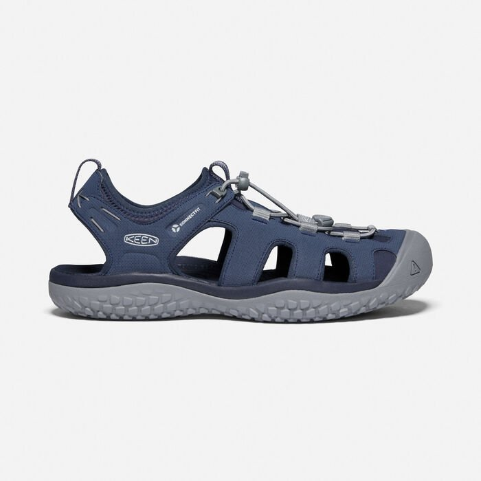 Men's SOLR Sandal in Navy/Steel Grey - large view.