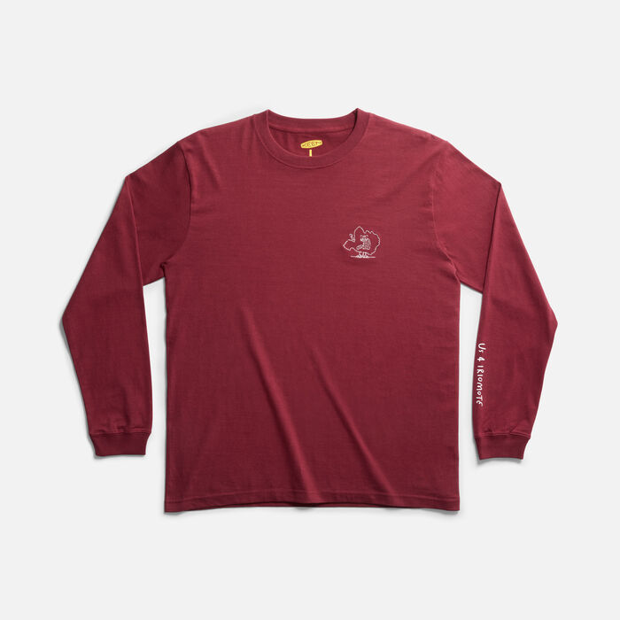US 4 IRIOMOTE チャリティーL/S TEE EMB 『イリオモテヤマネコ』 in Burgundy - large view.