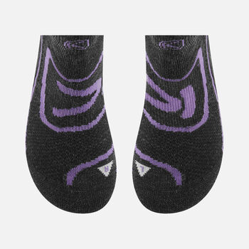 Zip Low Cut chaussettes pour femmes in Charcoal/Purple Heart - large view.