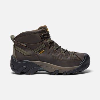 Men's Targhee II Waterproof Wide Fit Mid Hiking Boots in Canteen/Dark Olive - large view.