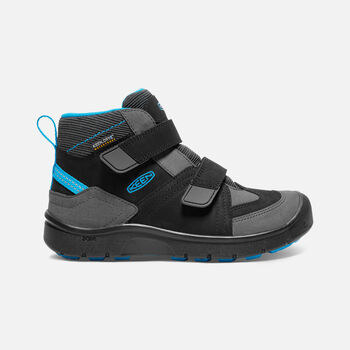 Older Kids' Hikeport Strap Waterproof Mid Hiking Boots in Black/Blue Jewel - large view.