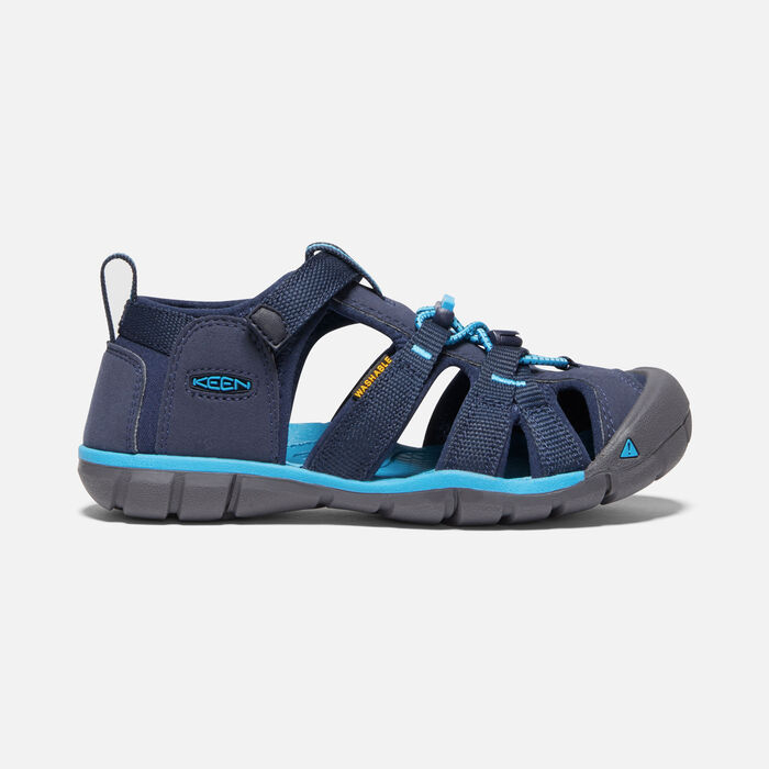Older Kids' Seacamp II Cnx Sandals in Black Iris/Vivid Blue - large view.