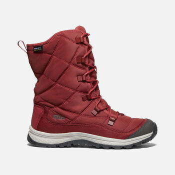 Women's Terradora Lace Waterproof Winter Boots in MERLOT/RAVEN - large view.