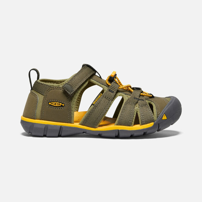 Older Kids' Seacamp II Cnx Sandals in Military Olive/Saffron - large view.